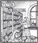 Visual Gag Fiction Nun-fiction nuns in a nunnery library choosing and reading books for nuns
