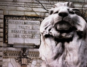 'NYPL - Lion (Fortitude) and Truth' by Kathleen Tyler Conklin used under Creative Commons license  CC BY 2.0